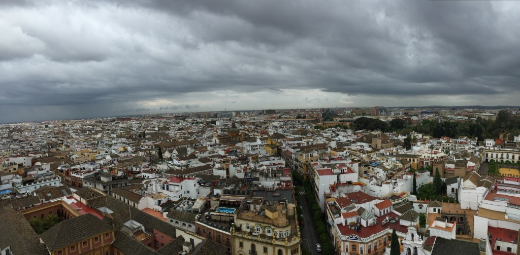 Though the clouds brought us some rain and kept the sun away, the views from the top of the Giralda were breathtaking nevertheless.