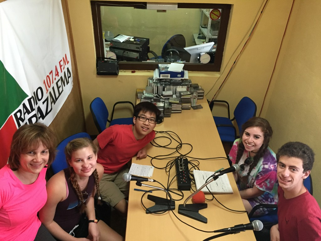 Ms. Bryant, Natalya, Thomas, Arielle, and Paul in the studios of Radio Grazalema.