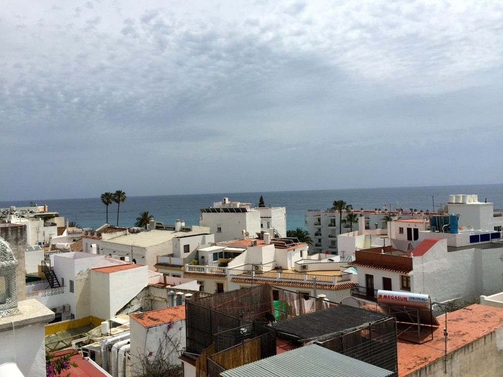 Mediterranean views from the terrace of our hotel in Nerja.